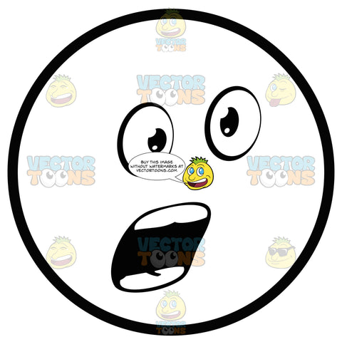 Talking, Open Mouthed, Smooth Teeth Large Eyed Black And White Smiley Face Emoticon