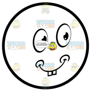 Happy Large Eyed Black And White Smiley Face Emoticon With Chubby Cheeks, Two Bucked Teeth, Smiling