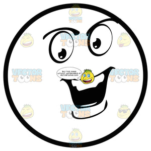 Speaking Confident Large Eyed Black And White Smiley Face Emoticon Open Mouth, Large Chin, Lower Lip