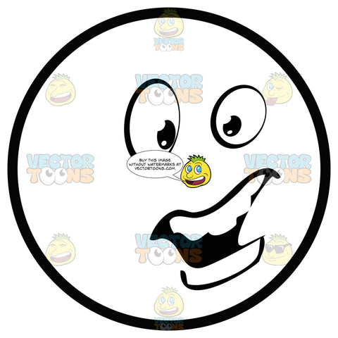 Large Eyed Black And White Smiley Face Emoticon Talking, Open Mouth, Smooth Teeth With One Eye Squinting