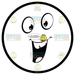 Friendly Large Eyed Black And White Smiley Face Emoticon With Open 'U' Shaped Mouth, Smooth Teeth, Happy