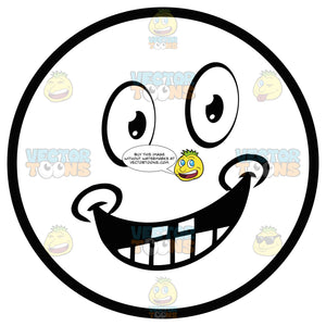 Smiling, Dimpled Large Eyed Black And White Smiley Face Emoticon