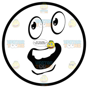 Open Mouthed Speaking Large Eyed Black And White Smiley Face Emoticon Eyes Looking Left