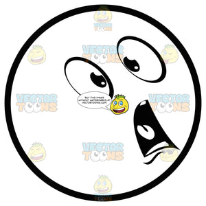 Shocked Large Eyed Black And White Smiley Face Emoticon Wide Eyes, Open Mouth
