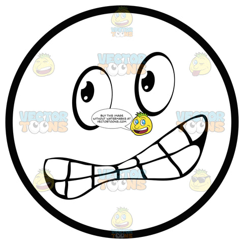 Scared Large Eyed Black And White Smiley Face Emoticon With Chattering Teeth, Lopsided Smile