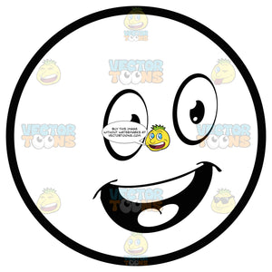 Upbeat Large Eyed Black And White Smiley Face Emoticon With Open Mouth