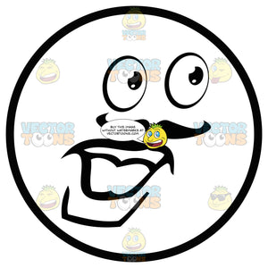 Male Large Eyed Black And White Smiley Face Emoticon With Mustache And Strong Lower Lip