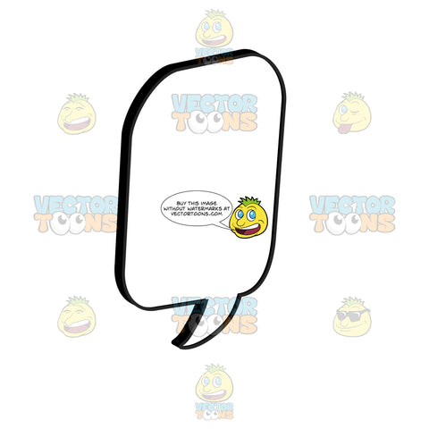 Upright Comic Speech Balloon With Curled Tail