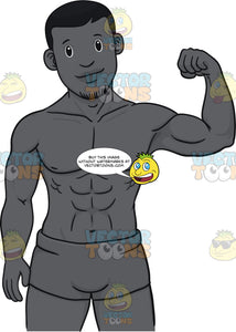 Black Man Flexing His Muscles