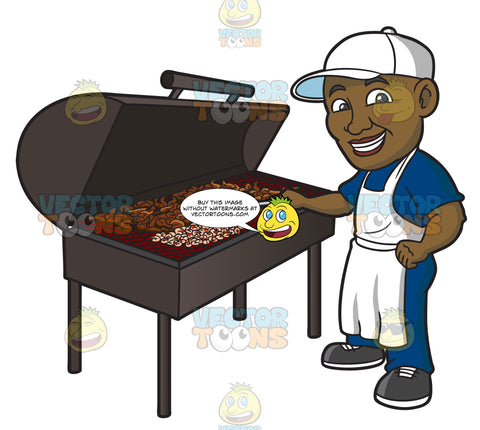 A Black Man Grilling Chicken