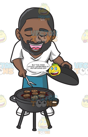 A Singing Black Man Grilling Burger Patties