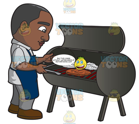 A Black Man Grilling Steaks