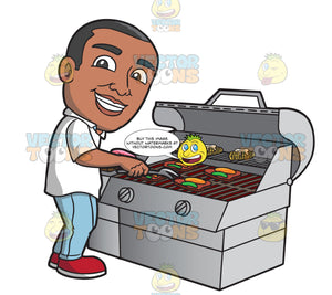 A Black Man Grilling Steak And Vegetables