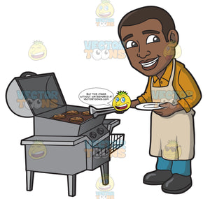 A Black Man Cooking Burger Patties On A Griller