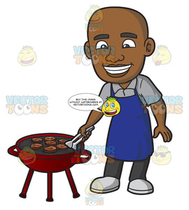 A Black Man Grilling Burger Patties