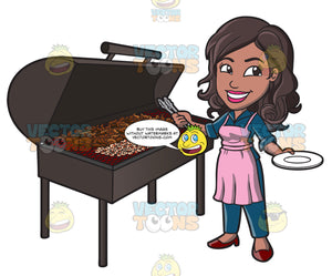 A Black Woman Grilling Chicken Barbecue