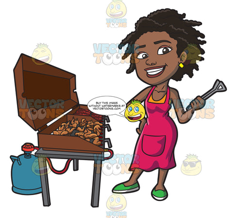 A Black Woman Grilling Ribs And Chicken