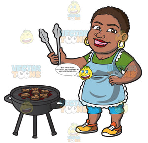 A Happy Black Woman Grilling Burger Patties