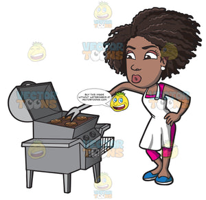 A Black Woman Grilling Some Burger Patties