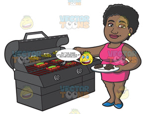 A Black Woman Getting The Steak Off The Grill