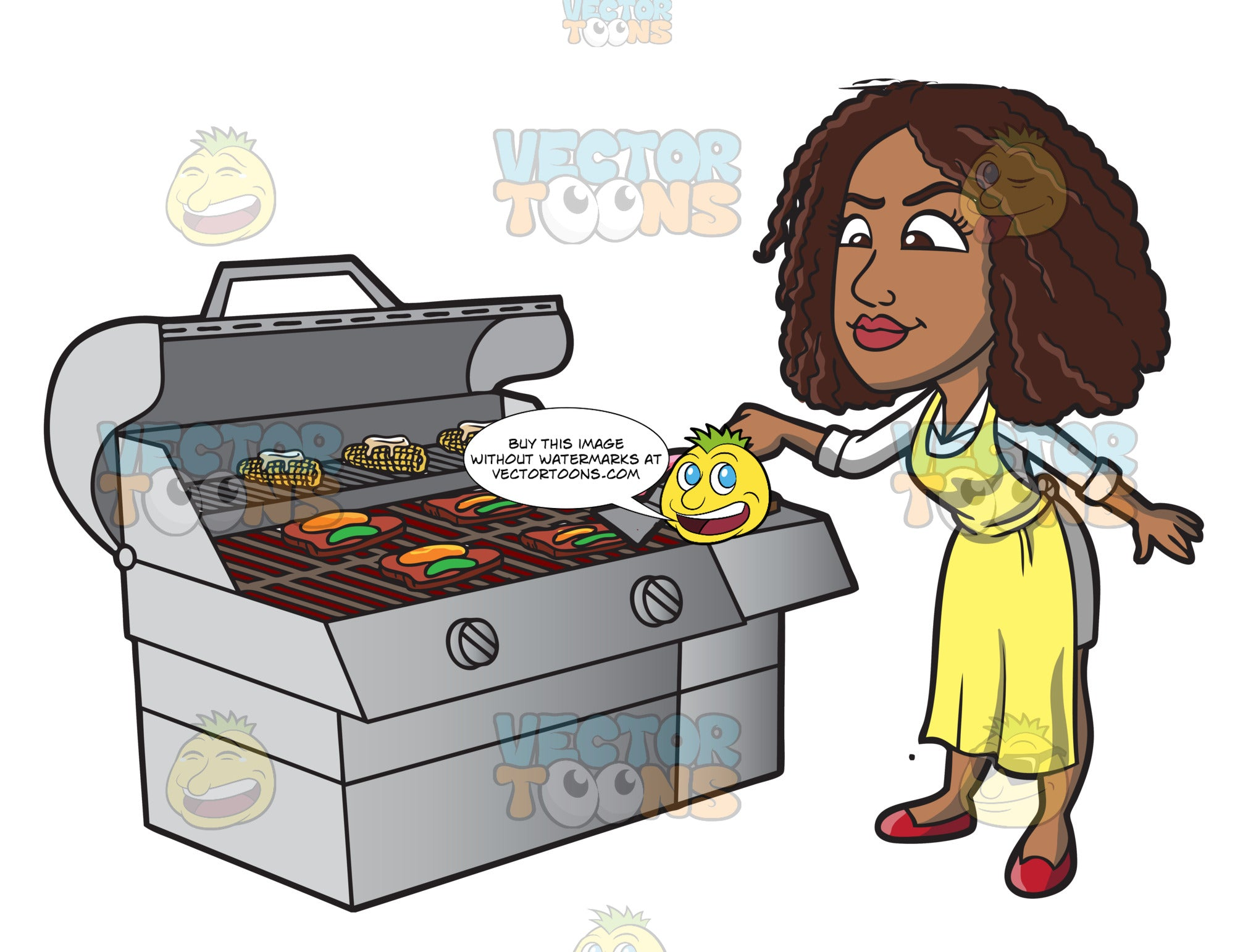 A Black Woman Grilling Steak And Vegetables