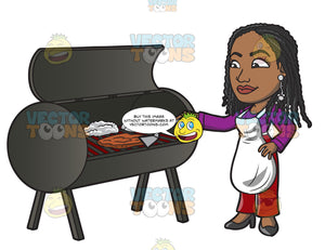 A Black Woman Grilling Steak