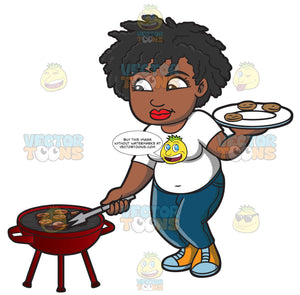 A Black Woman Getting Her Grilled Burger Patties