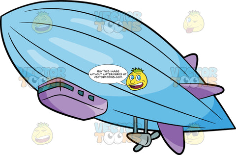 A Huge Blimp In The Air. A blimp with a light blue envelope, purple fins and as well as a gray electric motor that propels it to fly and move
