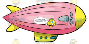 A Big Blimp Flying In The Air. A blimp with a pink envelope, yellow nose and gray propellers, and yellow gondola