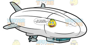 A Huge White Blimp. A blimp with a huge white envelope, gray propellers as well as a main gondola with glass windows