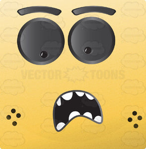 Shocked Yellow Block Square Smiley With Grey Eyes, Freckles
