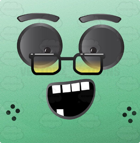 Green Old Granny Block Square Smiley With Grey Eyes Wearing Square Lens Glasses, Freckles, Missing Lower Teeth