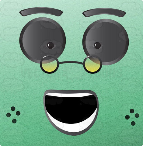 Green Block Square Smiley With Grey Eyes Wearing Tony Round Glasses, Freckles, Open Mouth With Smooth Teeth