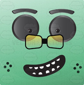 Green Block Square Smiley With Grey Eyes, Square Glasses, Freckles, Upwards Tilting Smile