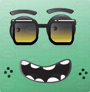 Nerdy Looking Green Block Square Smiley With Grey Eyes, Thick Black Glasses, Freckles, Black Teeth