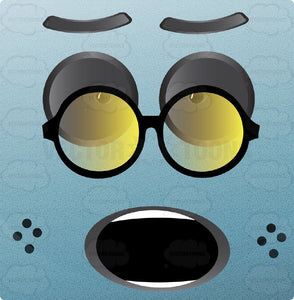 Light Blue Block Square Smiley With Grey Eyes, Wearing Large Round Glasses, Freckles