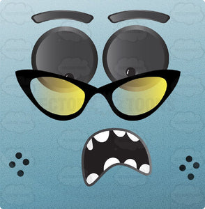 Light Blue Block Square Smiley With Grey Eyes, Wearing Retro Cat Eye Frames Glasses Freckles Looking Shocked
