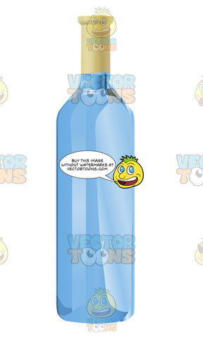 Large Blue Wine Bottle With No Label On The Front