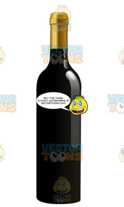 Black Wine Bottle With A Gold Cap