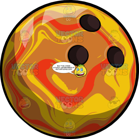 A Bowling Ball With Red And Yellow Swirls