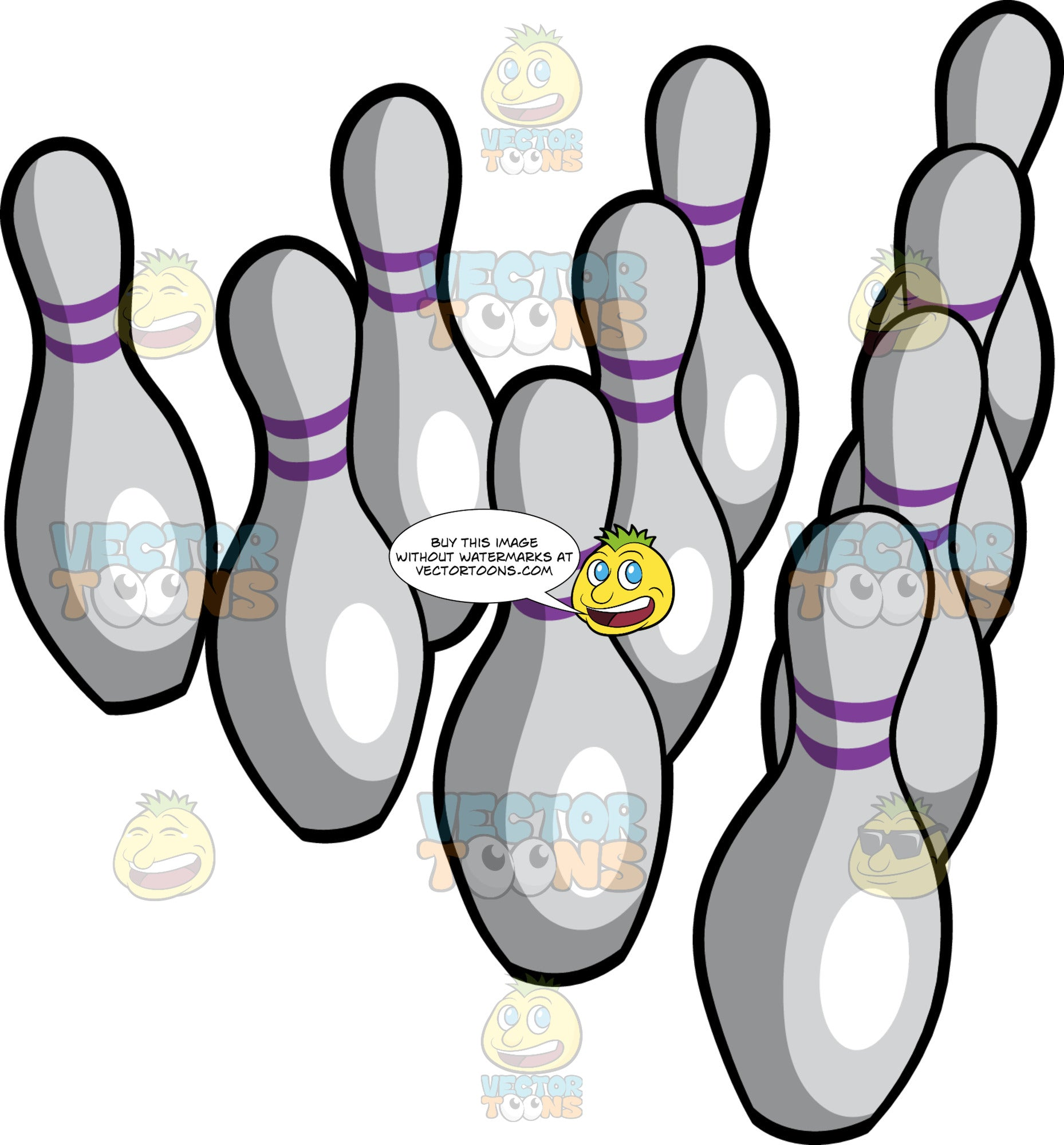 Bowling Pins In A Traditional Layout