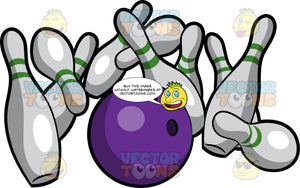 Bowling Pins Tumbling Down When Hit By A Bowling Ball