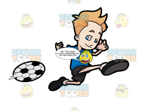 A Boy Kicking A Soccer Ball