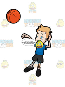 A Boy Throwing A Basketball