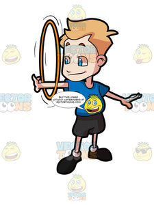 A Boy Spins A Hoop On His Arm