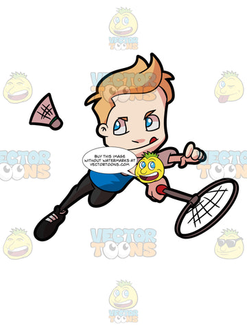 A Preadolescent Boy Playing Badminton