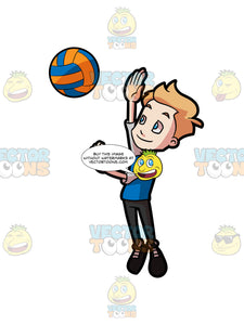 A Preadolescent Boy Playing Volleyball