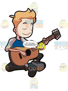 A Preadolescent Boy Playing His Guitar