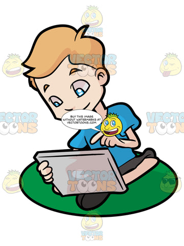 A Young Boy Playing With His Mobile Tablet Device