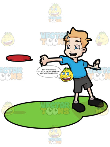 A Young Boy Enjoying A Game Of Frisbee
